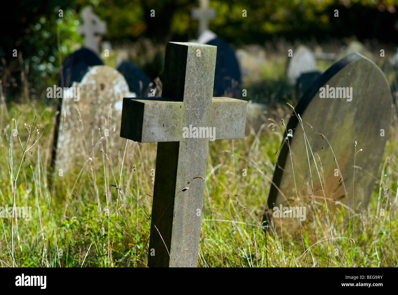 Old gravestones in a churchyard - Stock Image