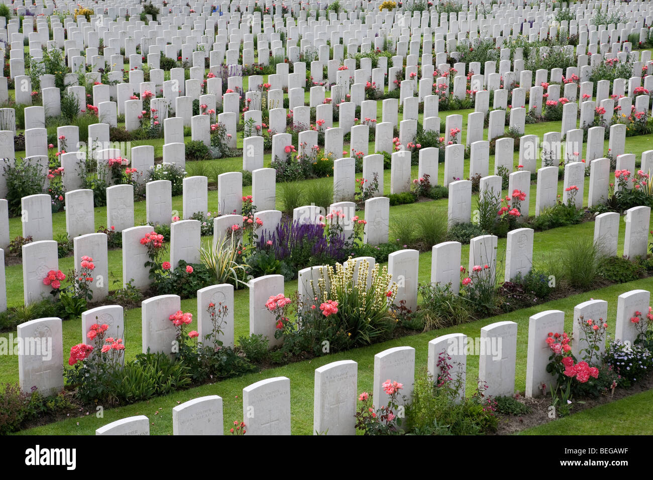 View over Tyne Cot Military Cemetery. First World War British cemetery with 11,856 white tombstones. - Stock Image