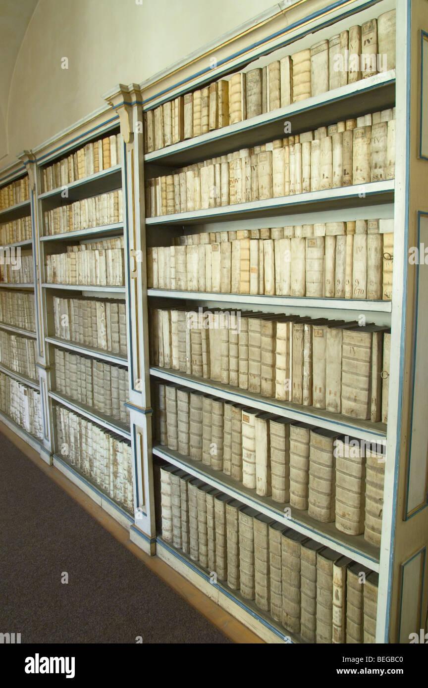 Bookshelves Full Of Old Books At Library Of Strahov Monastery Stock