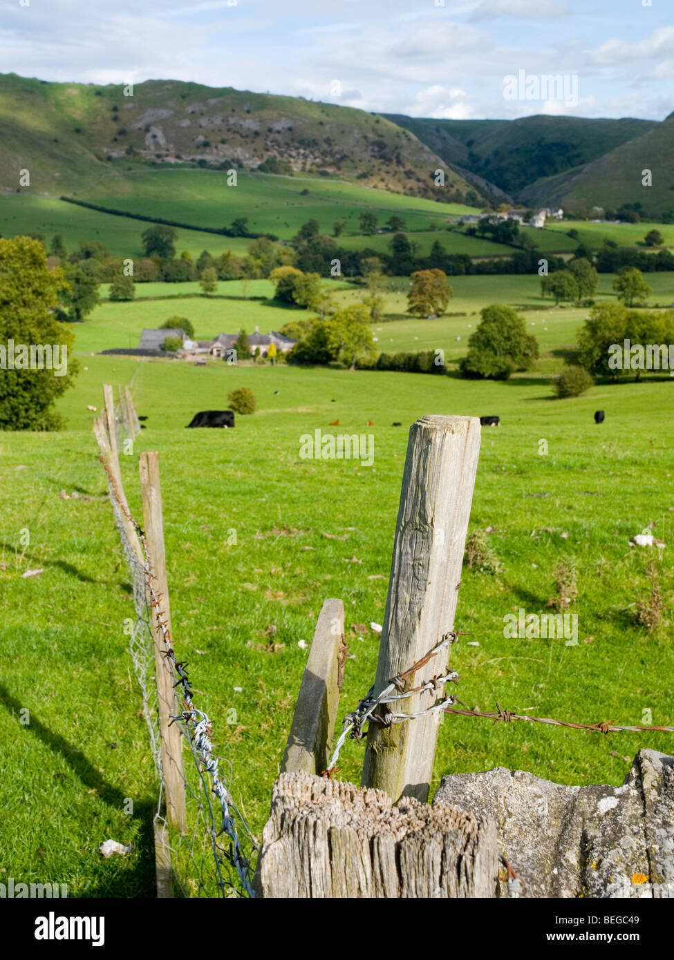 Rural countryside surrounding Ilam Village in Derbyshire England UK - Stock Image