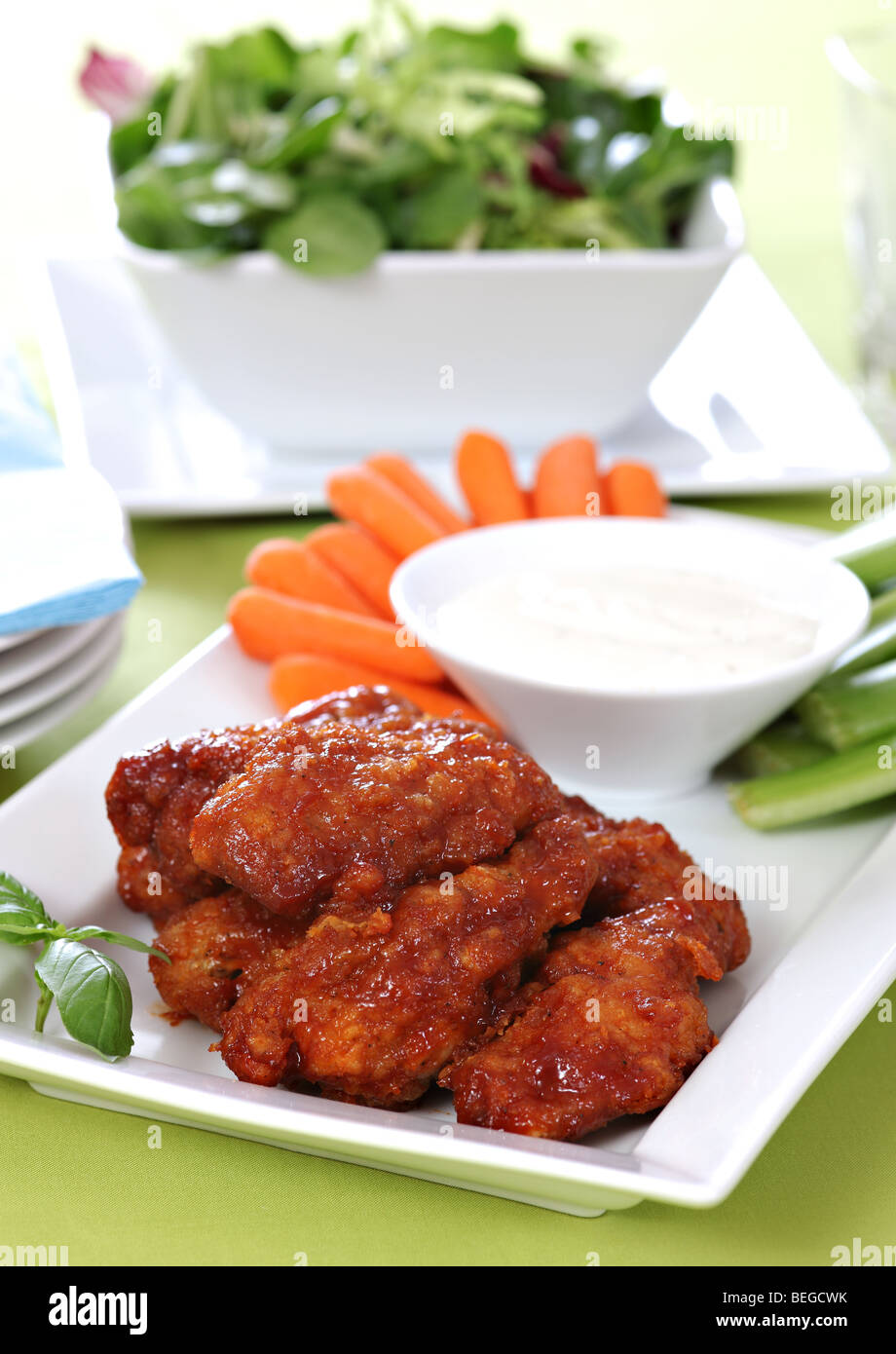 Hot chicken wings - Stock Image