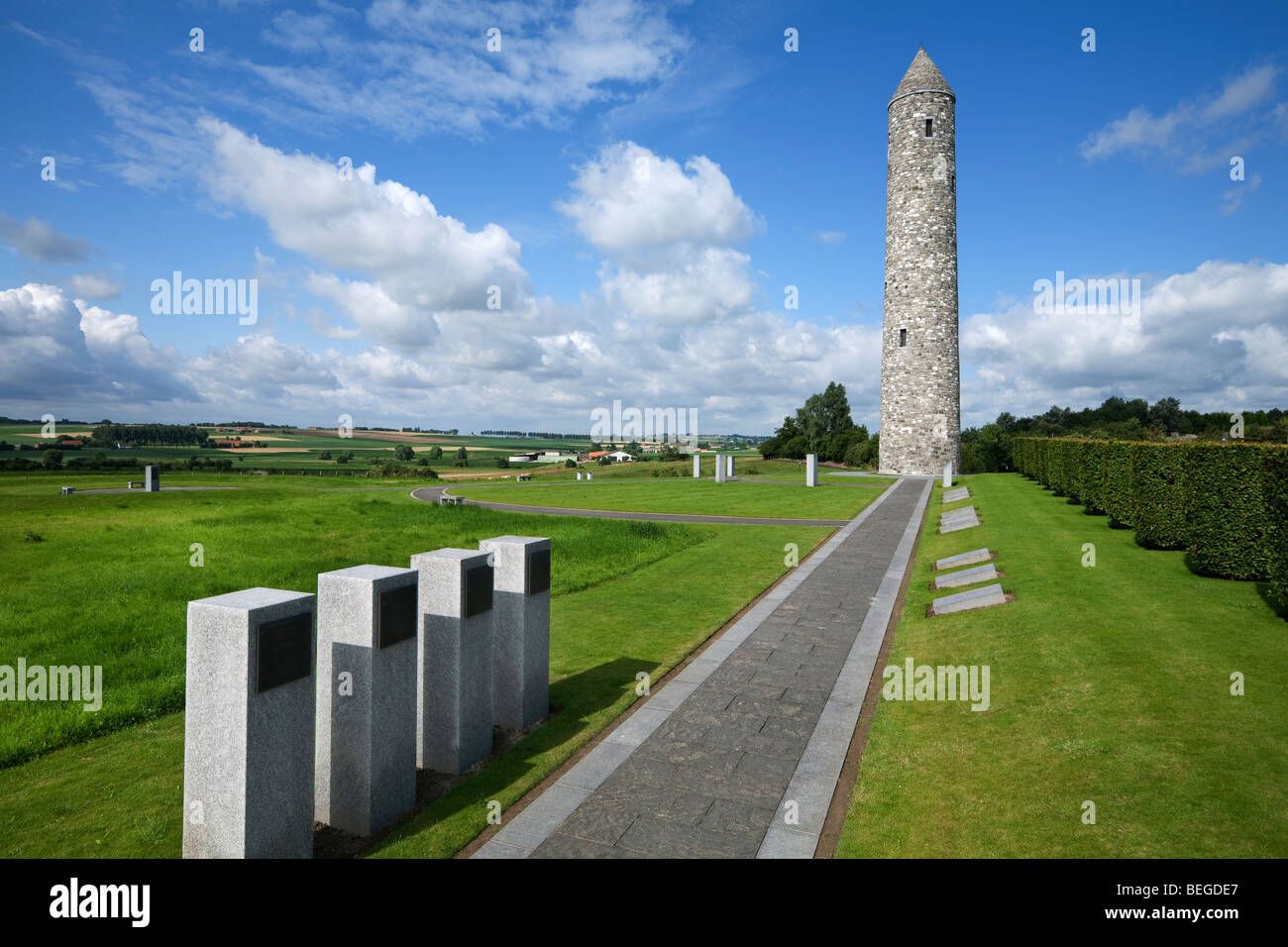 Island of Ireland Peace Park. Memorial with tower commemorating First World War. - Stock Image