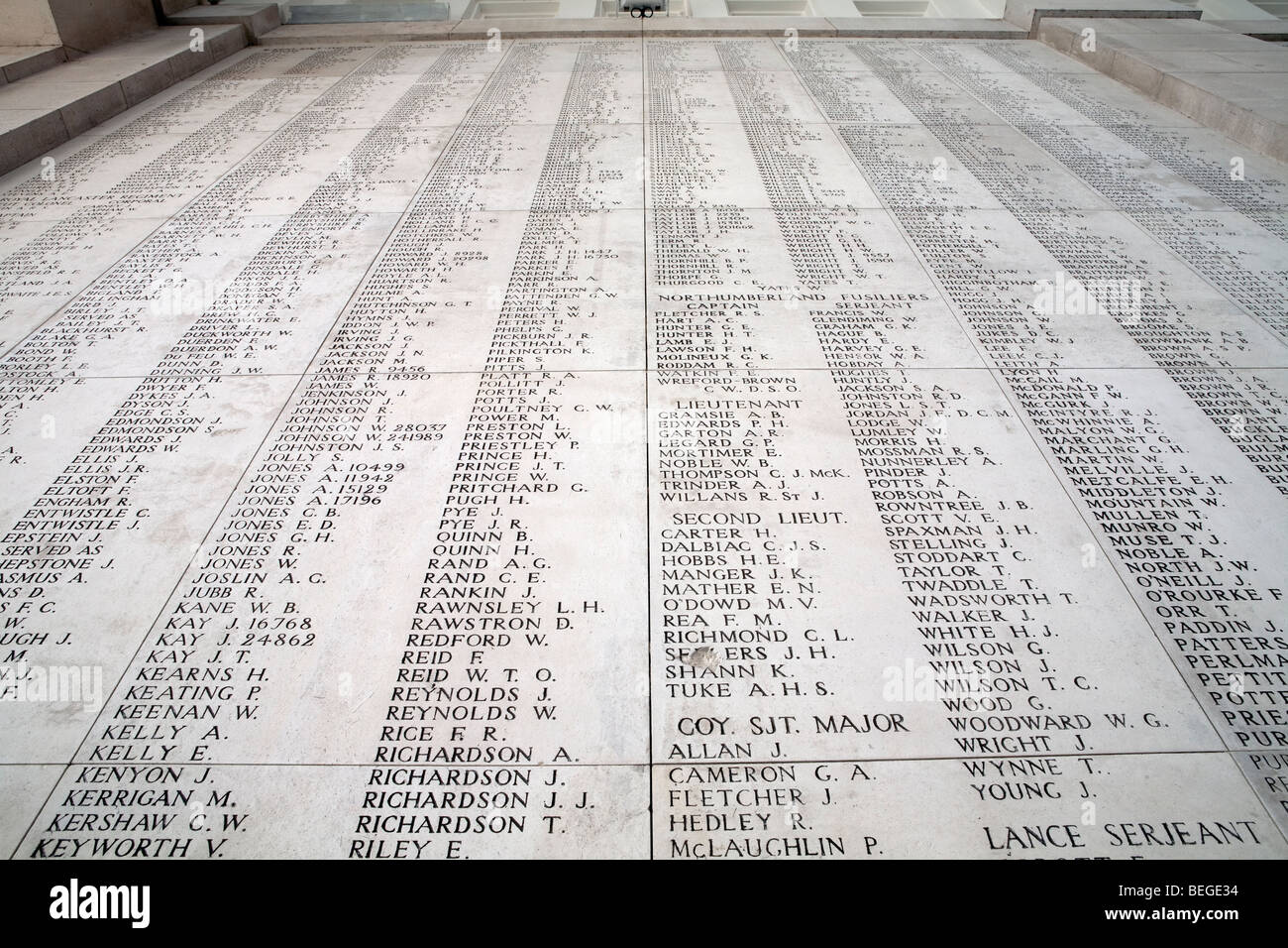 List of names of fallen British soldiers in the Menin Memorial Gate, containing names of 54,896 Britons who died - Stock Image