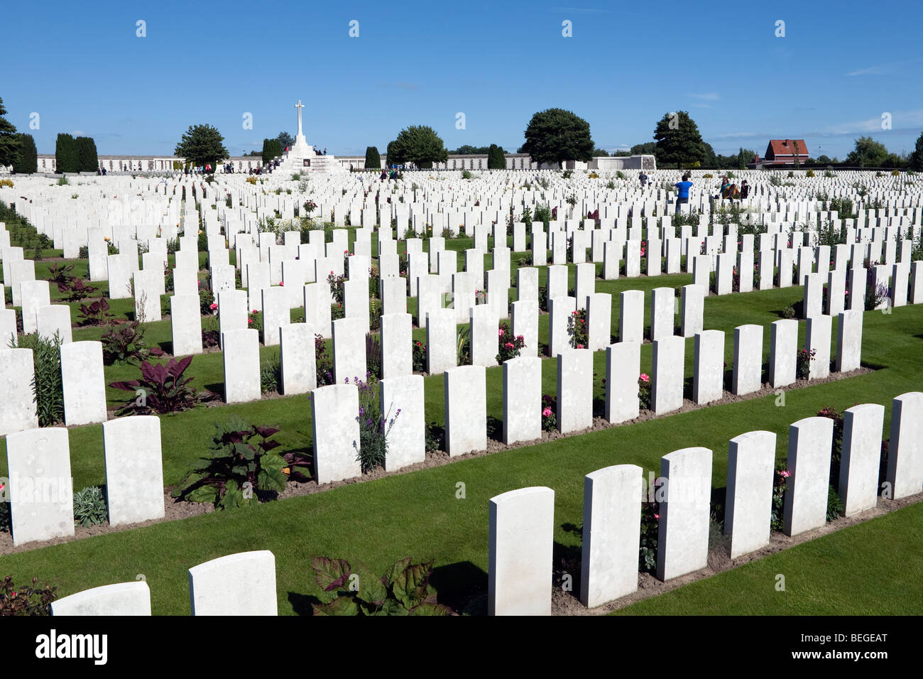 View over Tyne Cot Military Cemetery. First World War British cemetery with 11,856 white gravestones. - Stock Image