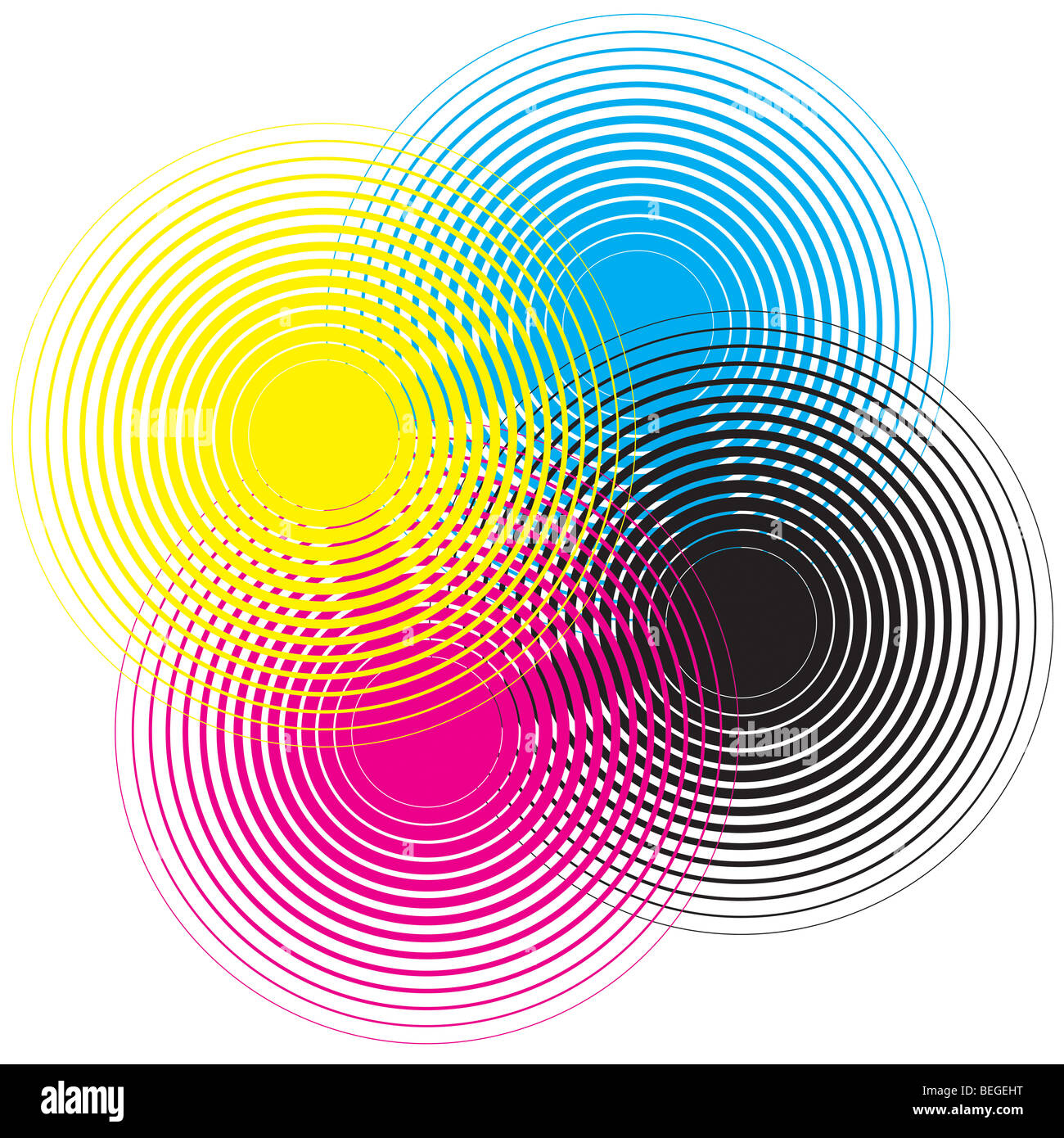 Cmyk circle texture on a white background - Stock Image
