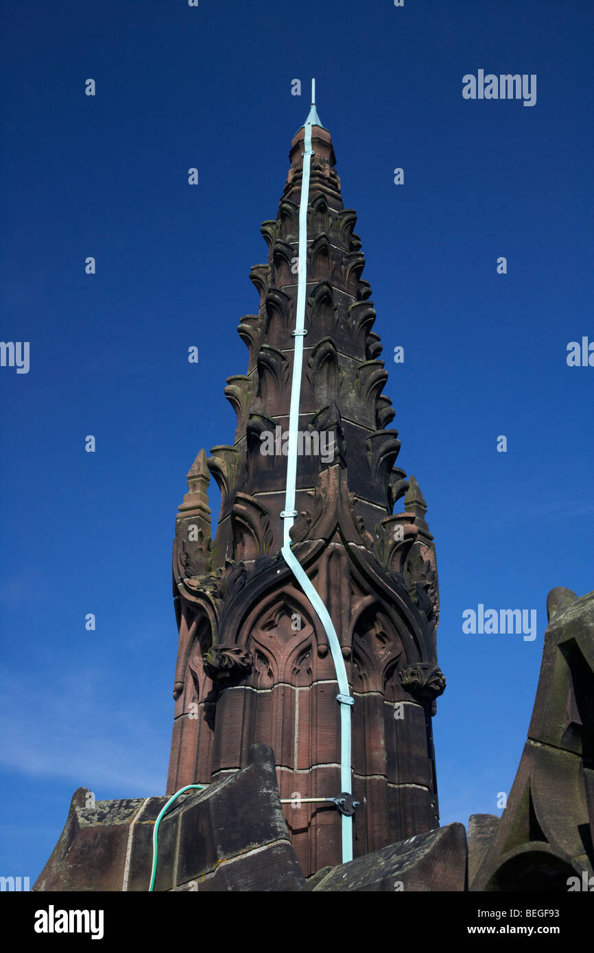 copper strip lightning conductor on the top of liverpool cathedral old building merseyside england uk - Stock Image