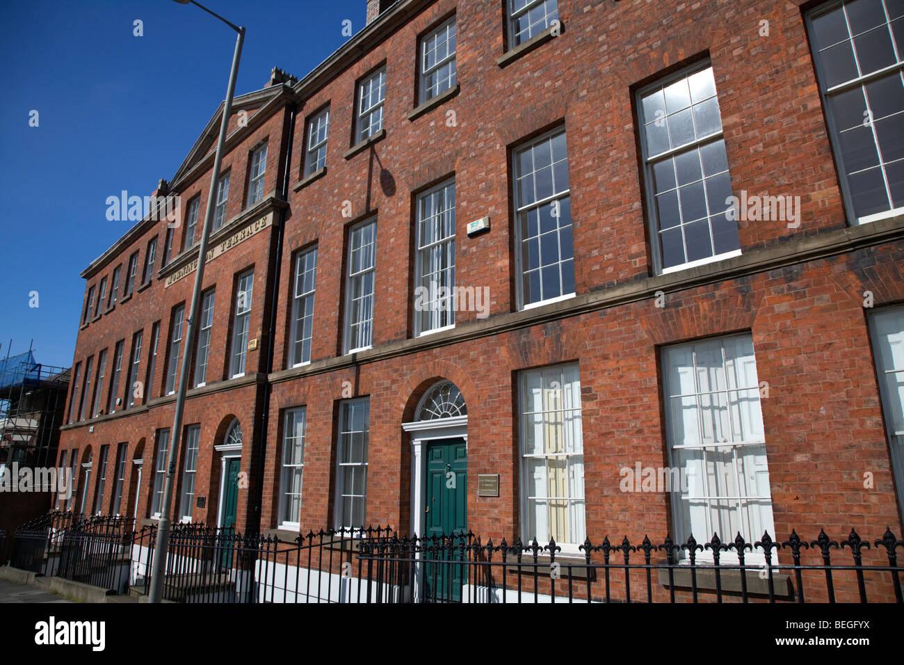 mornington terrace grade II 2 listed georgian terraced building in Upper Duke Street Liverpool Merseyside england - Stock Image