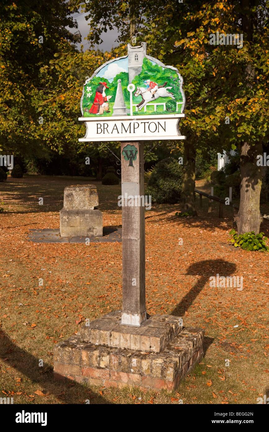 England, Cambridgeshire, Huntingdon, Brampton village sign showing Samuel Pepys and racecourse - Stock Image