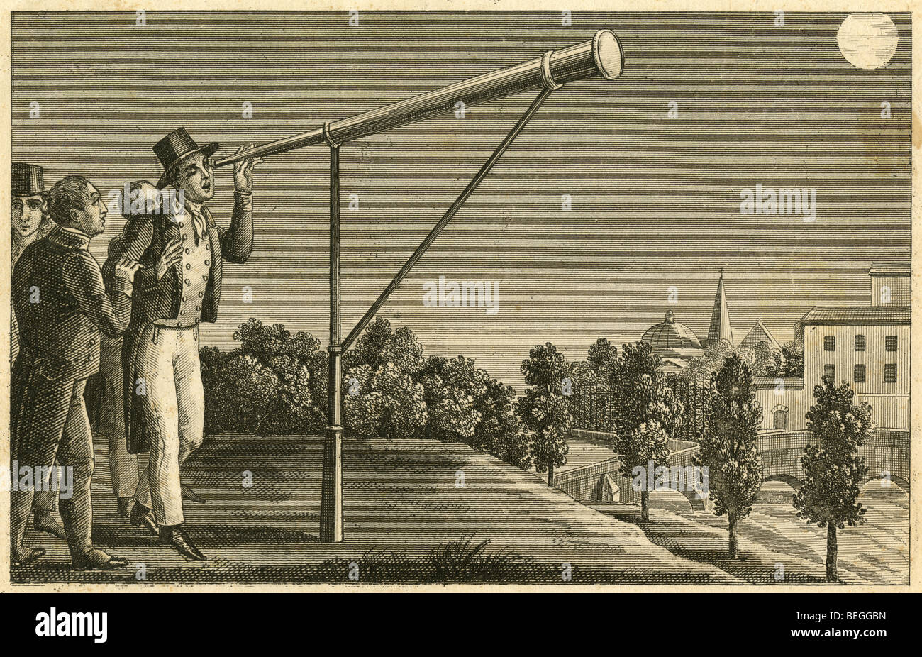 1834 French engraving showing men looking through a telescope at the moon. - Stock Image