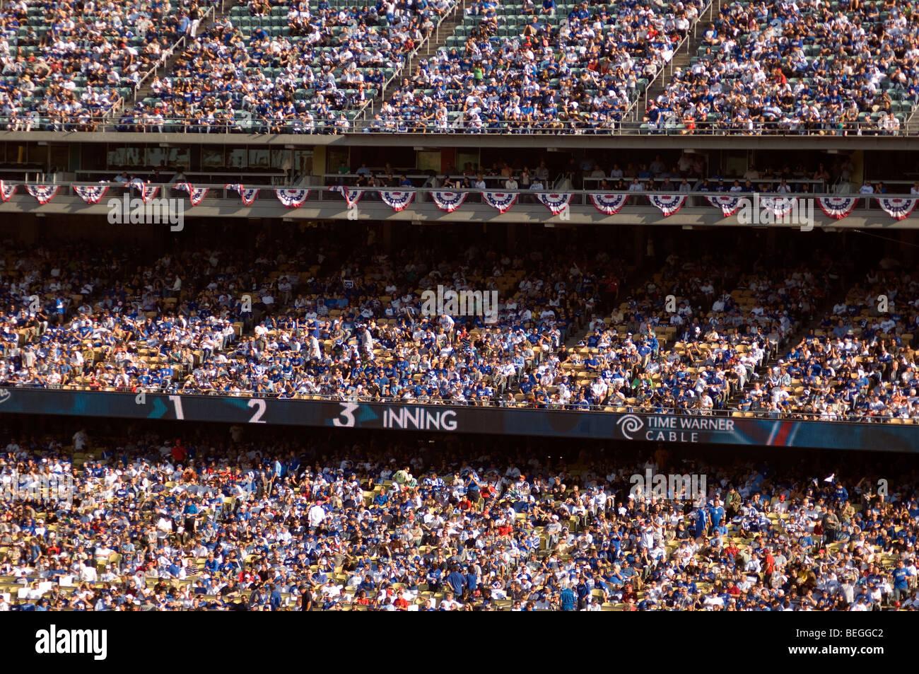 Crowd at Dodger Stadium - Stock Image