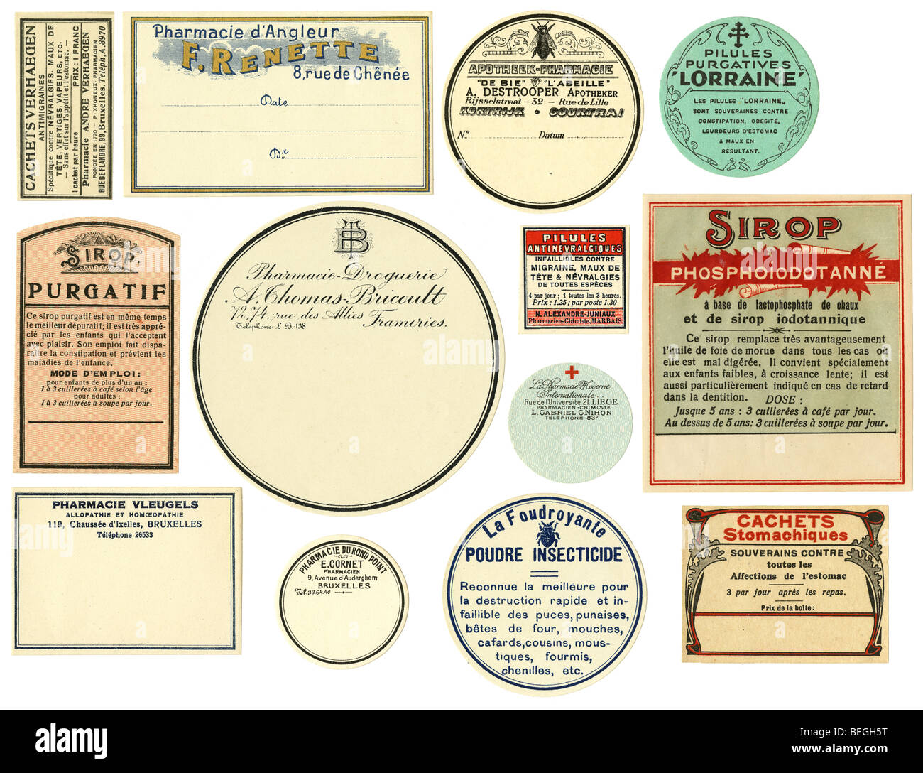 Circa 1910s Belgian pharmacy labels in French. - Stock Image