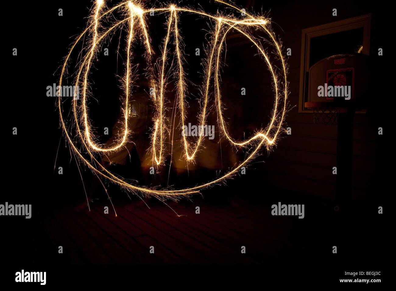 Sparkler celebration of the University of North Carolina UNC - Stock Image