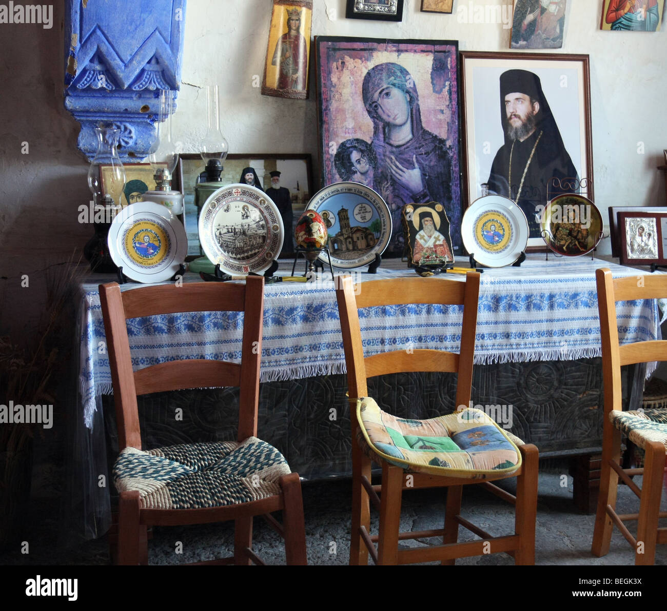 Inside the home of the old priest in the small village of Pera, Cyprus. - Stock Image