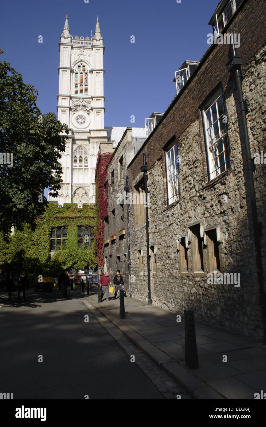 Westminster Abbey viewed from Dean's Yard London - Stock Image