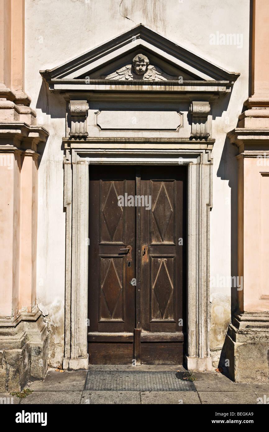 Seminarkirche church door, Linz, Austria - Stock Image