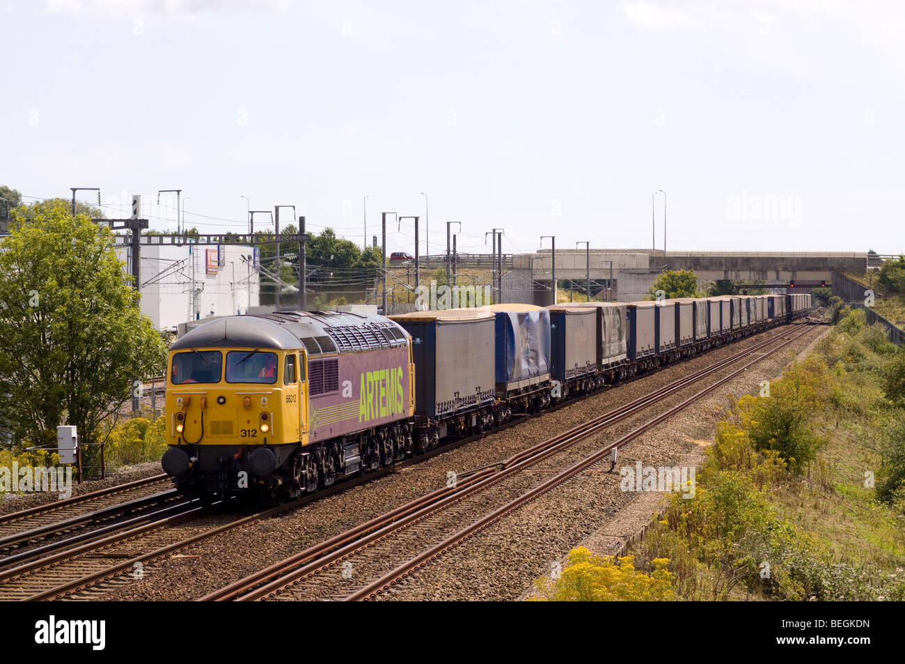 Colas class 56 diesel locomotive working an intermodal freight at Sevington in Kent. - Stock Image