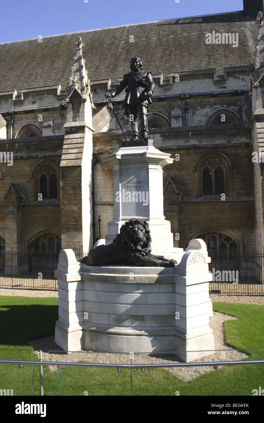 Statue of Oliver Cromwell outside Westminster Abbey London Stock Photo