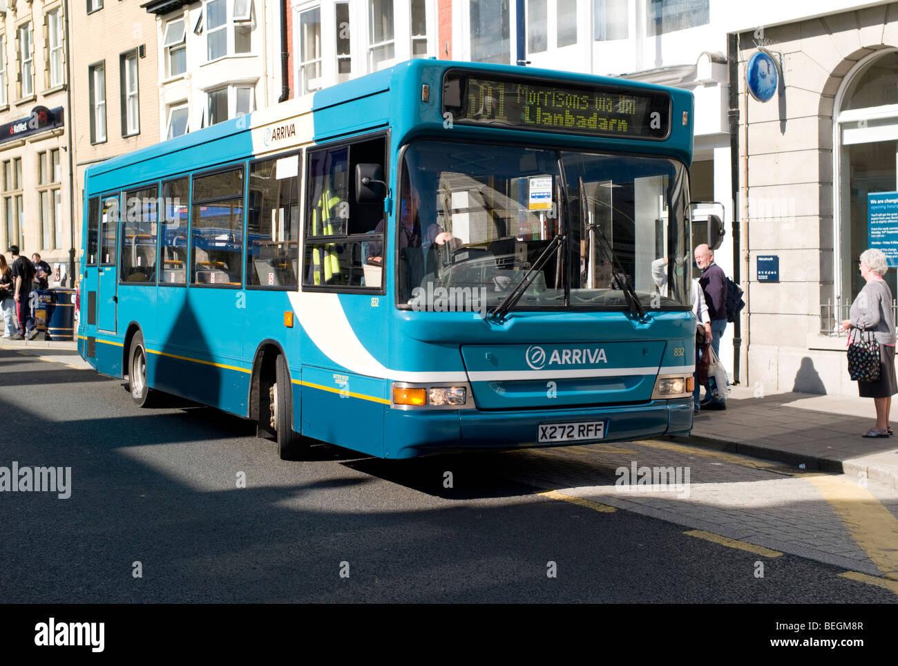 Arriva bus coach public transport Aberystwyth wales UK - Stock Image