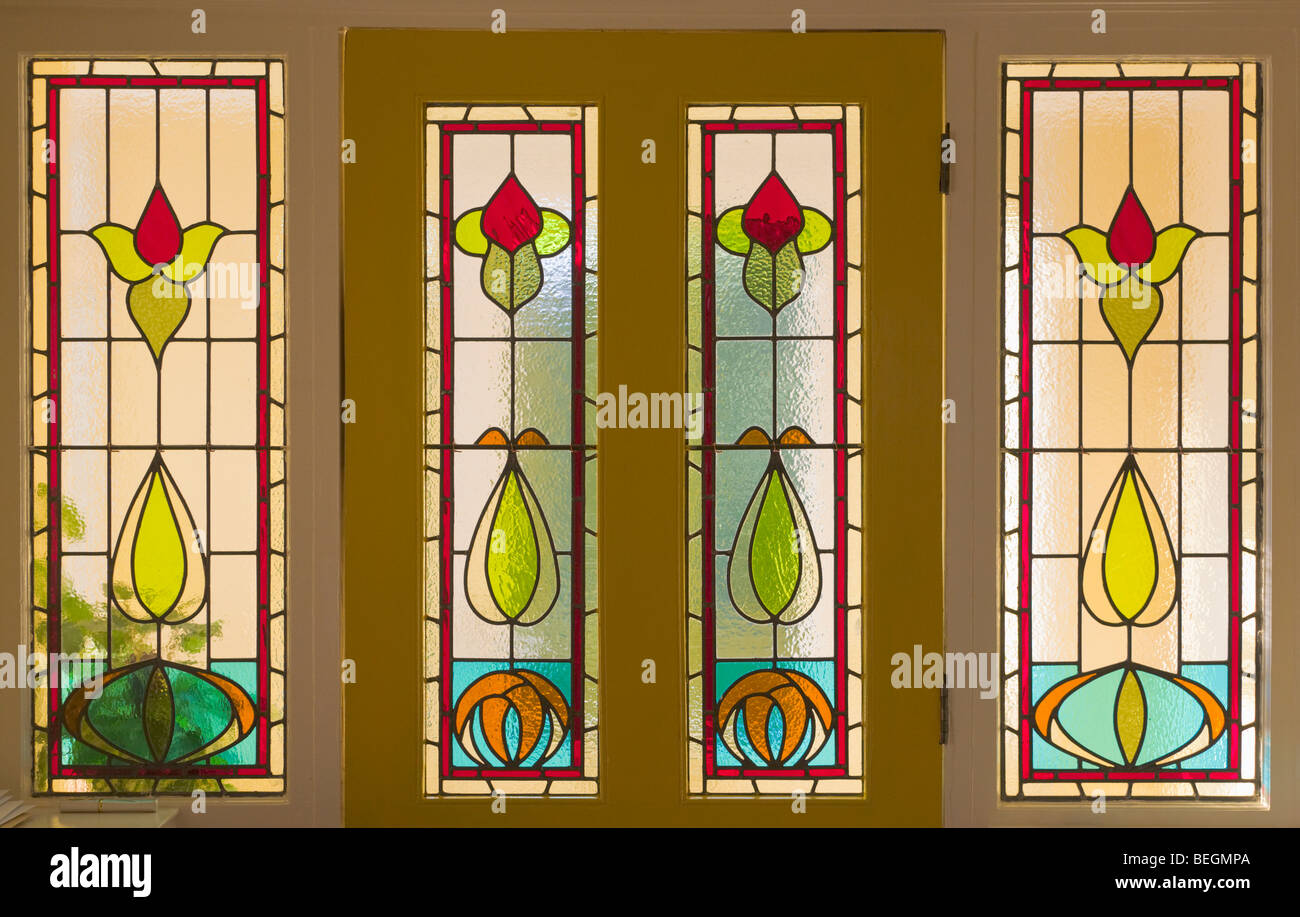 Front door with stained glass Stock Photo