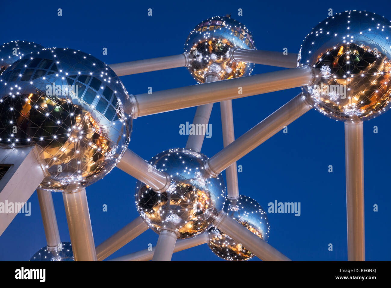 Detail of the Atomium in Heysel lit up at night. - Stock Image