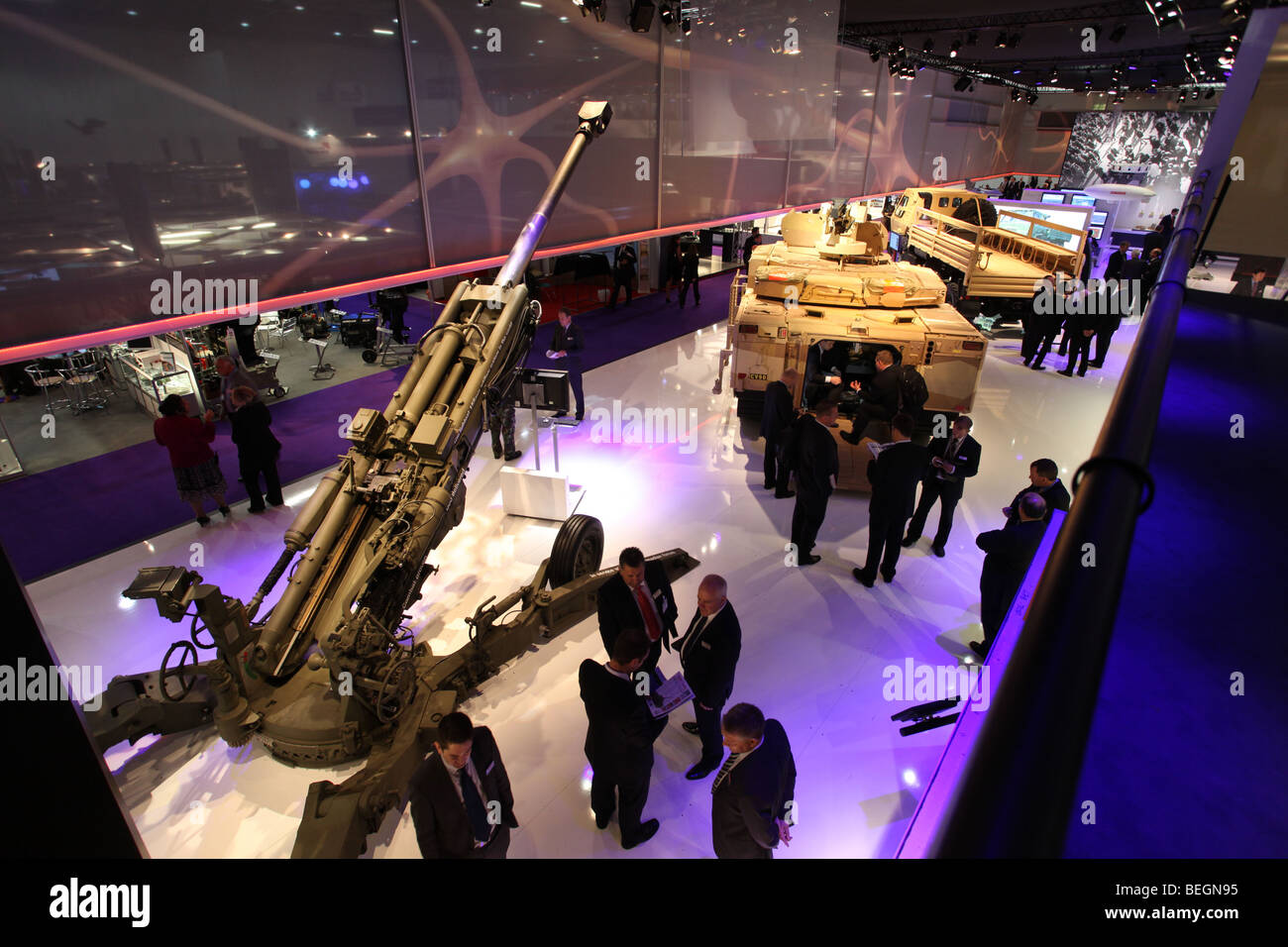 military equipment on display at an international arms fair Stock Photo