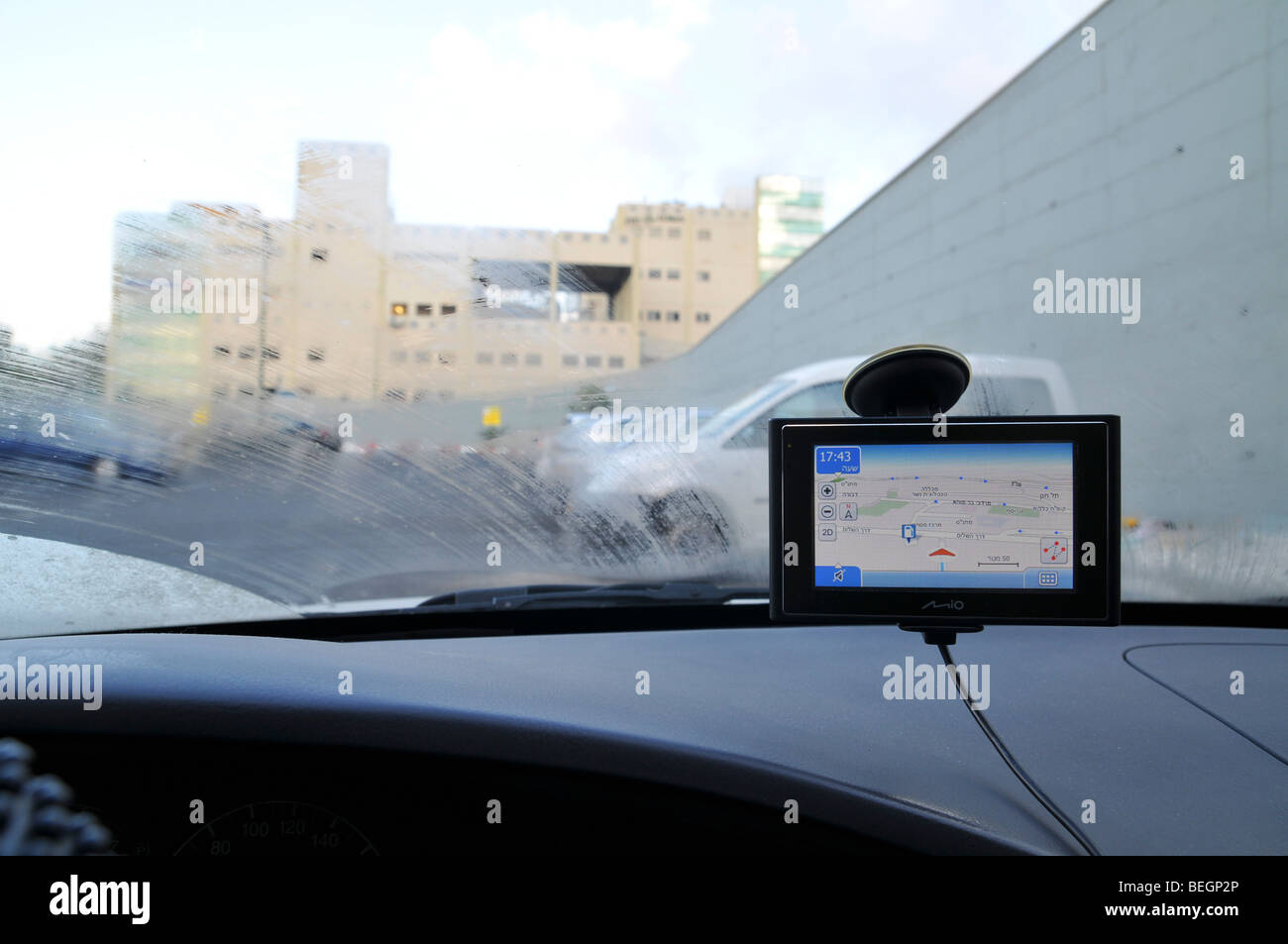 GPS unit in a car - Stock Image