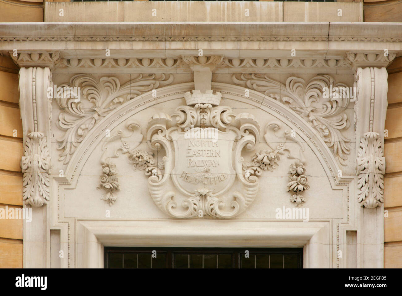 Ornate crest over the entrance to the old North Eastern Railway Head Office, Station Rise, York, United Kindgom. - Stock Image