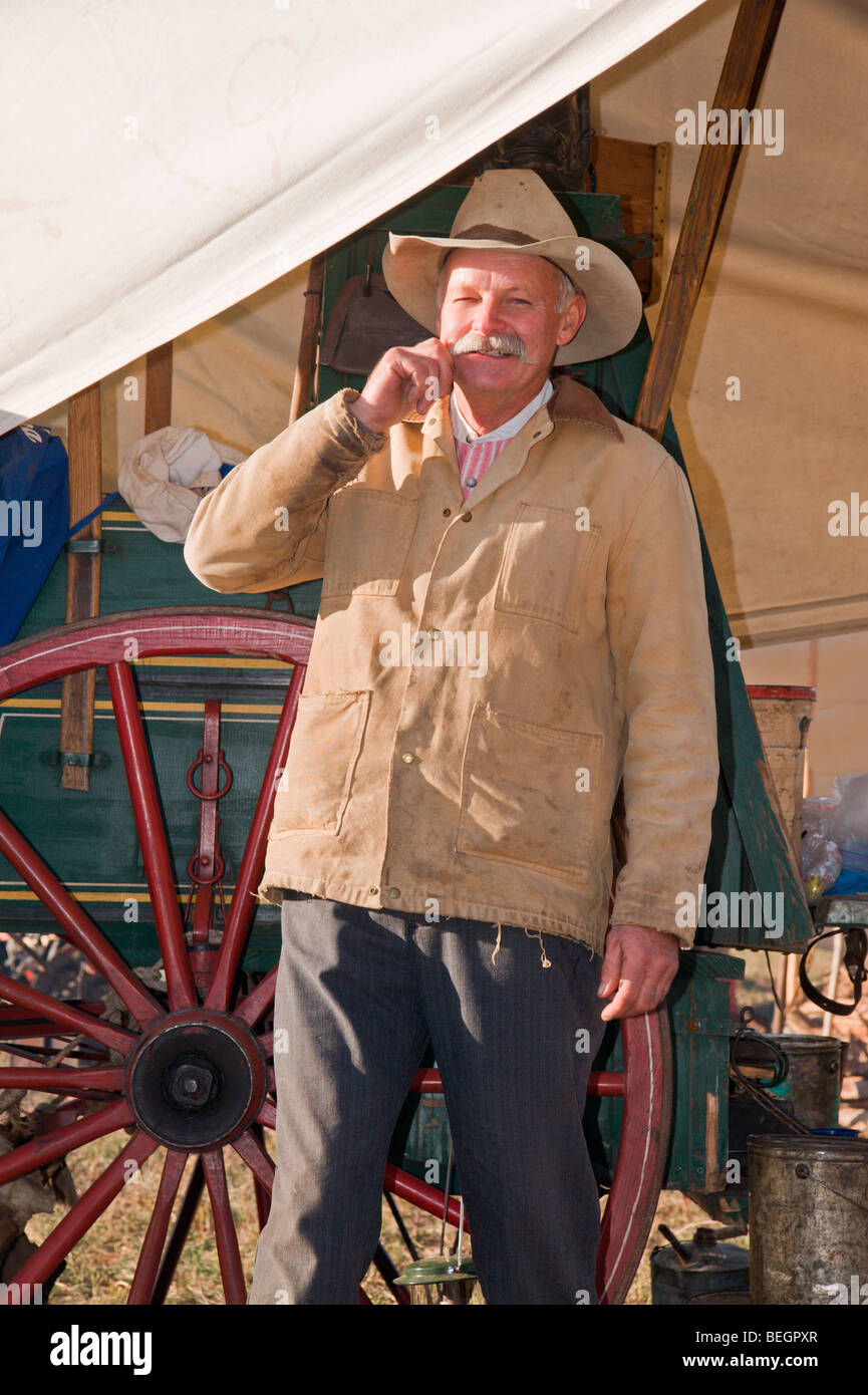 The Lincoln County Cowboy Symposium and Chuck Wagon Cook-off takes place in Ruidoso Downs, New Mexico. - Stock Image