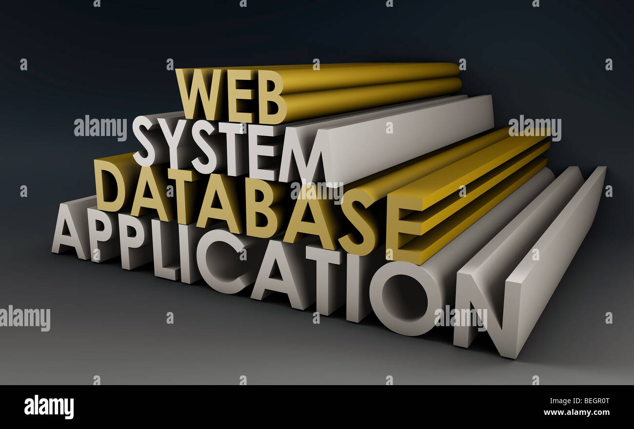 Web Application Database System in 3d Background - Stock Image