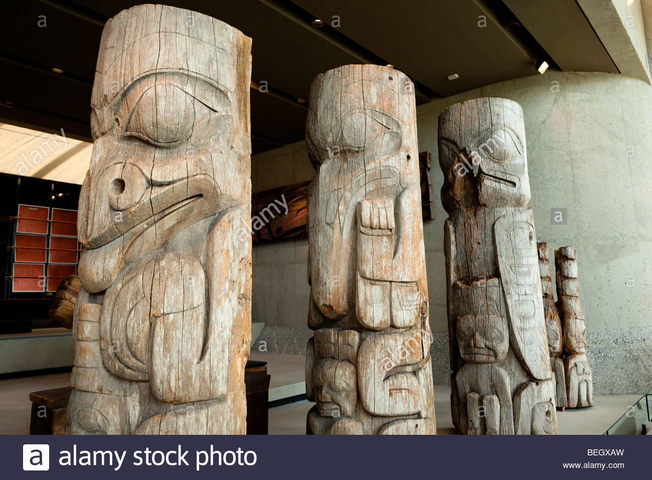 Haida Totem Poles at the Museum of Anthropology, Vancouver, B.C. - Stock Image
