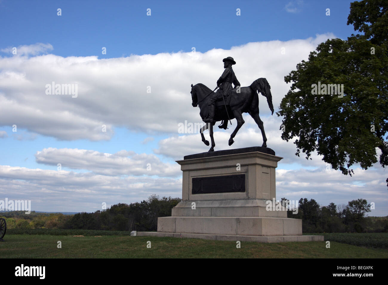 Monument to Major General John Reynolds, commander of the Union Army's 1st Corp. Killed on the first day of - Stock Image