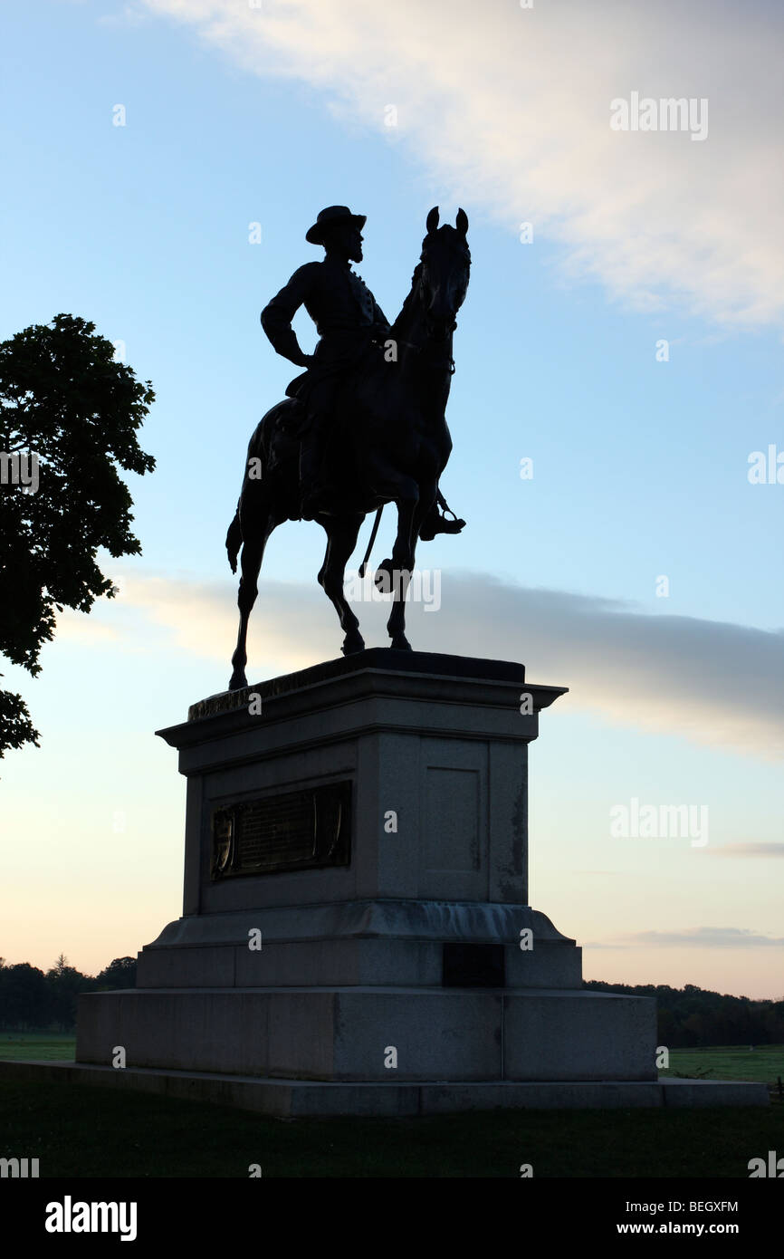 Silhouette of Major General John Reynolds, Commander of the Union Army's 1st Corp. - Stock Image