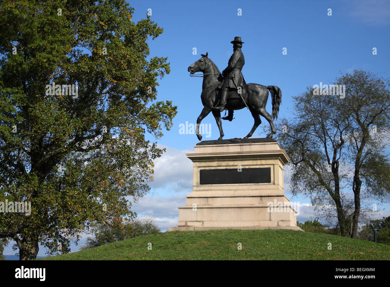 Monument to Major General Winfield Hancock, commander of the Union Army's 2nd Corp. Cemetery Ridge Gettysburg - Stock Image