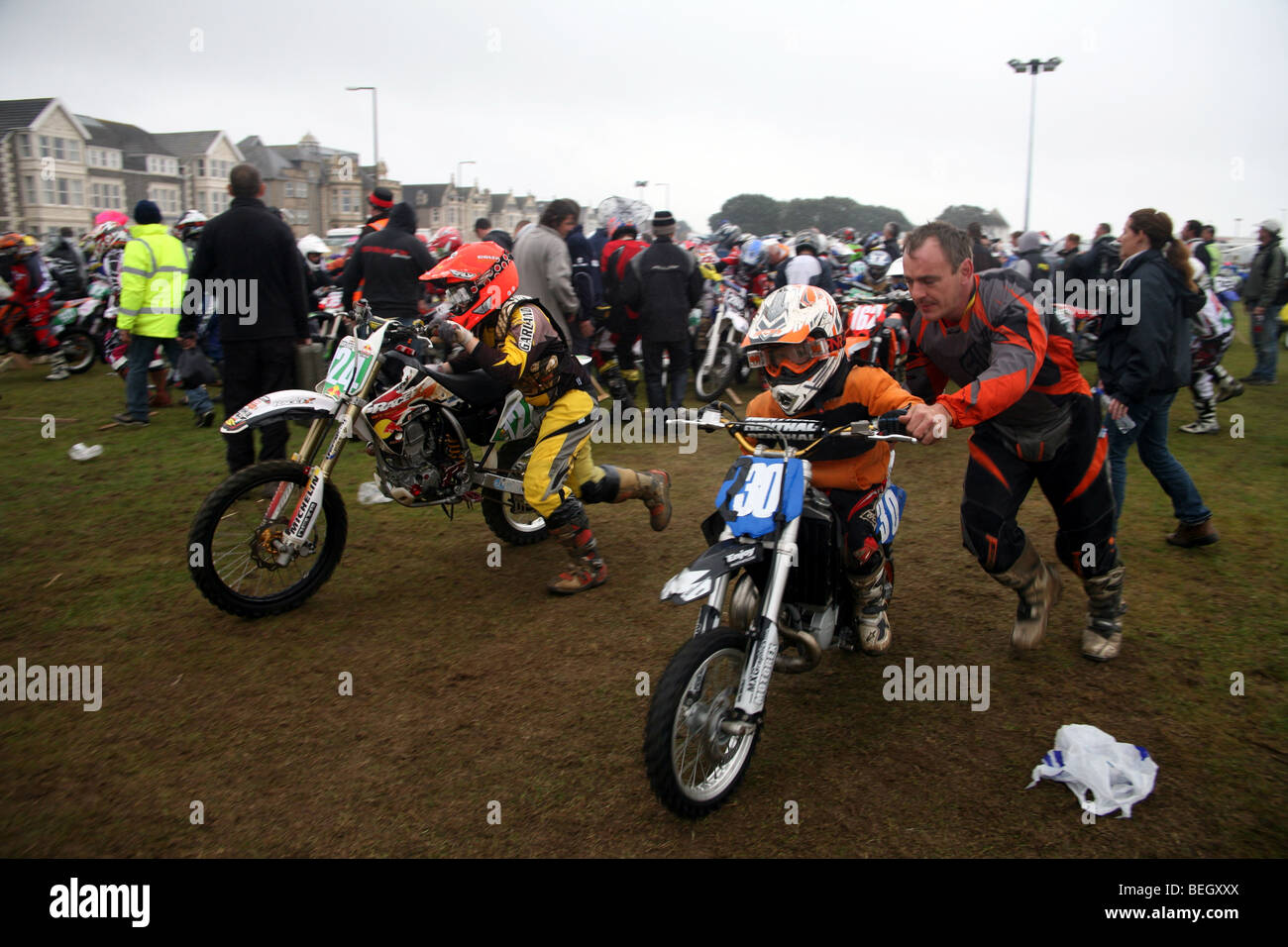 Participants at Weston Beach Race waiting for the race to start - Stock Image