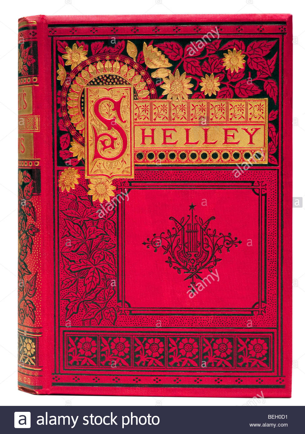 The Complete Works of Shelley Romantic Poet Poems Black Red Gilded cover 1878 Art Nouveau Rare Book Victorian Era - Stock Image