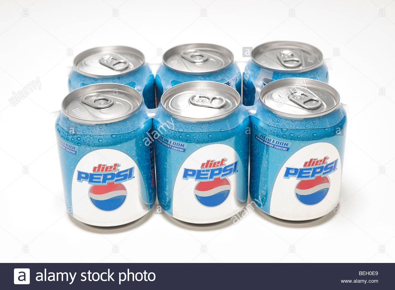 Six Pack of Diet Pepsi new half can style 8 ounces soda Stock Photo