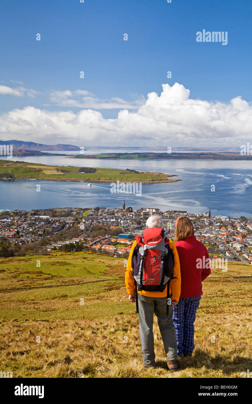 Largs and the Cumbrae Ferry from Castle Hill - Stock Image