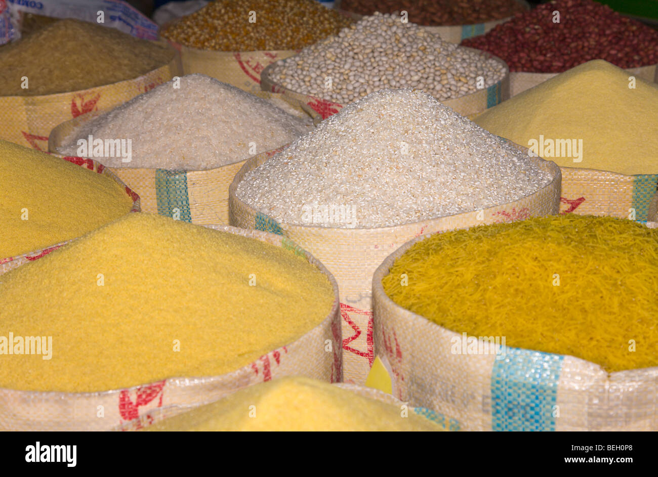 Pasta grain and rice in sacks at the souk in Taroudant Morocco - Stock Image