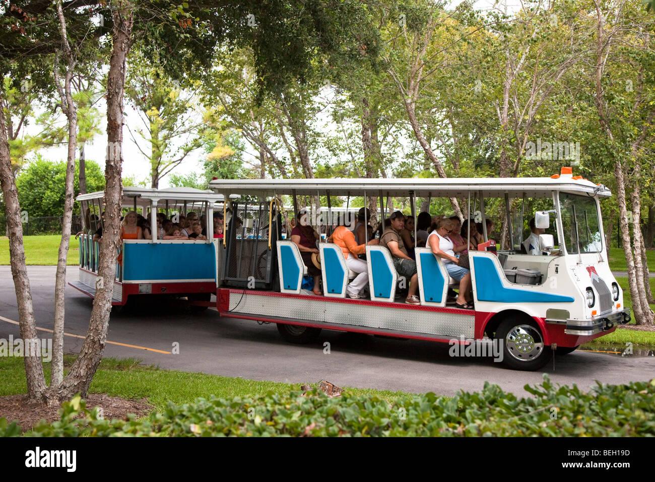 Tour bus at NASA Space Center Houston Texas USA - Stock Image