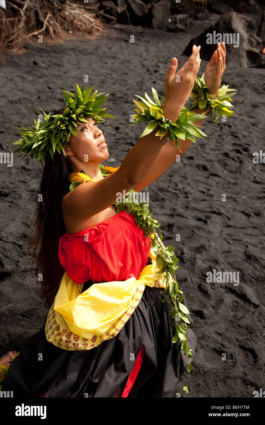 Young Hawaiian woman wearing traditional hula attire. Stock Photo