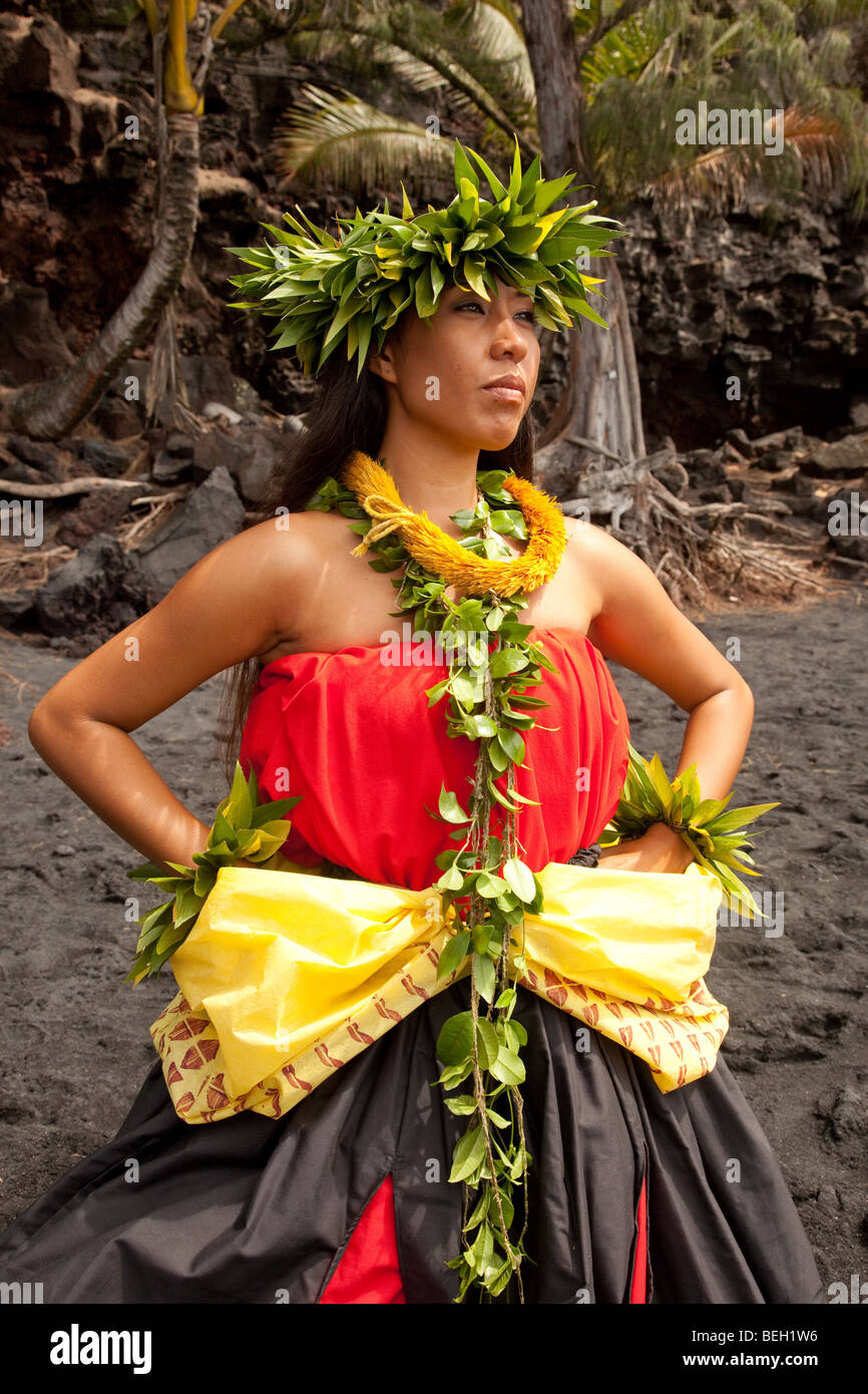 Young Hawaiian woman wearing traditional hula attire. Stock Photo