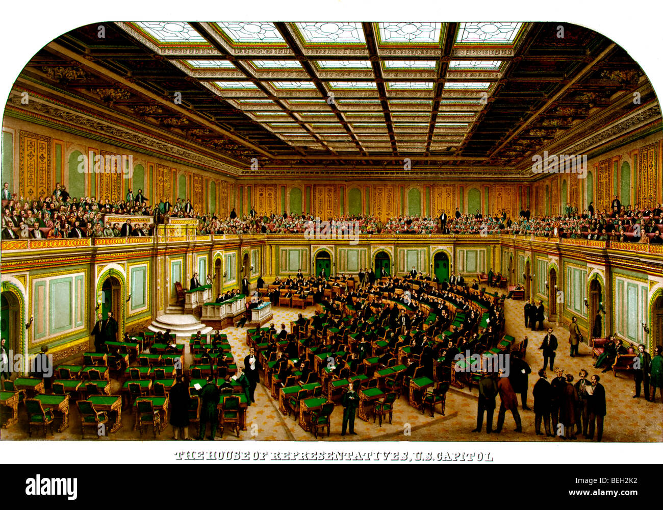 Interior View Of The House Of Representatives Wing Of The U.S. Capitol  Showing Congress In Session And Spectators In The Gallery