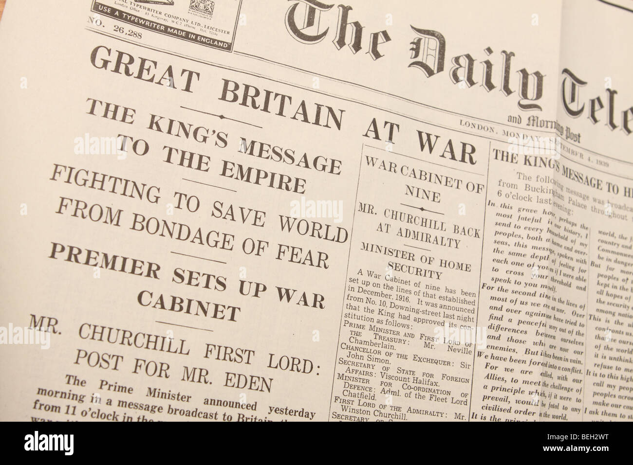 Britain At War newspaper headline from September 1939 at the start of World War 2 as printed in the Daily Telegraph - Stock Image
