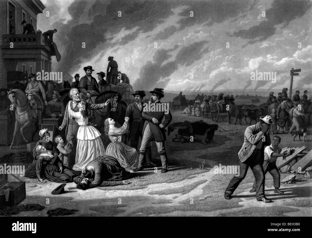 Martial Law - the desolation of the border counties of Missouri, during the enforcement of US Civil War - Stock Image