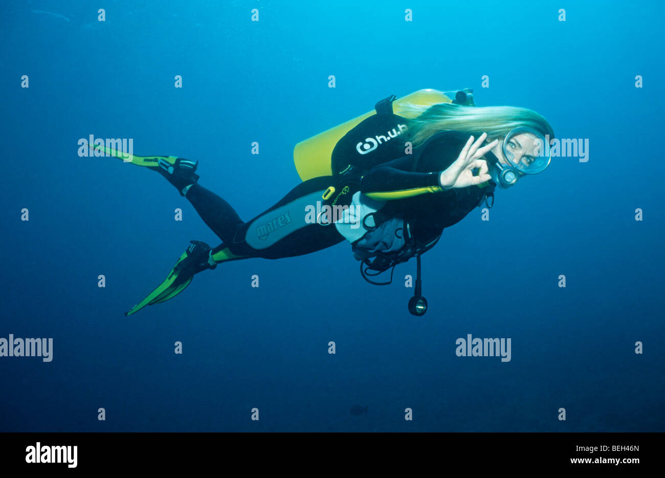 Underwater Sign Language O.K Signal - Stock Image