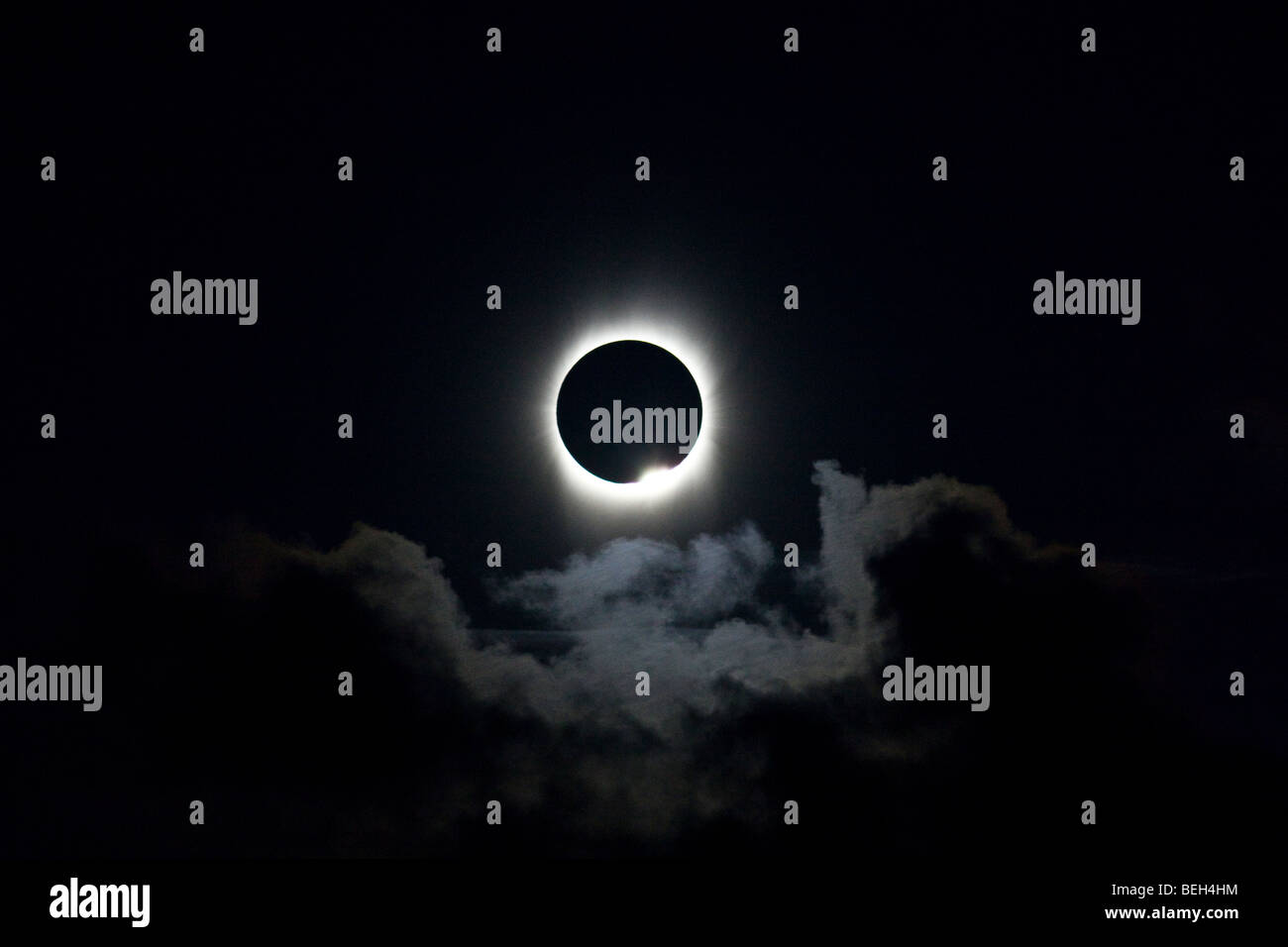 Total Solar Eclipse at 21 July 2009, Aitutaki Atoll, Cook Islands - Stock Image