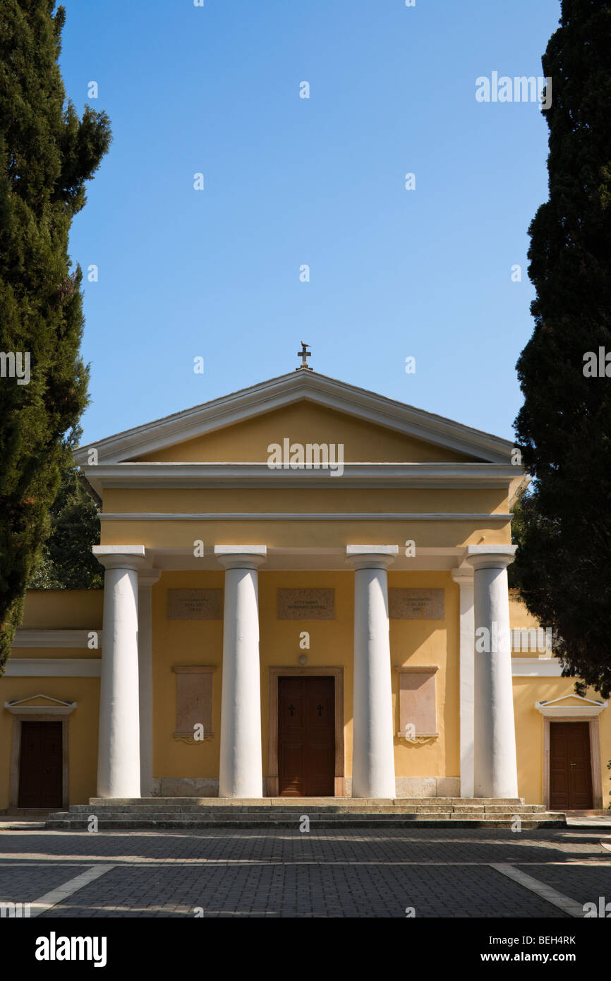 neoclassicistic cemetery church at Corfu Town - Stock Image