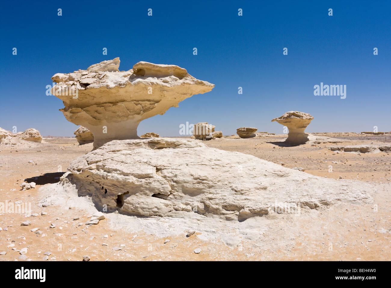 Rocks of Chalk Stone in White Desert National Park, Libyan Desert, Egypt - Stock Image