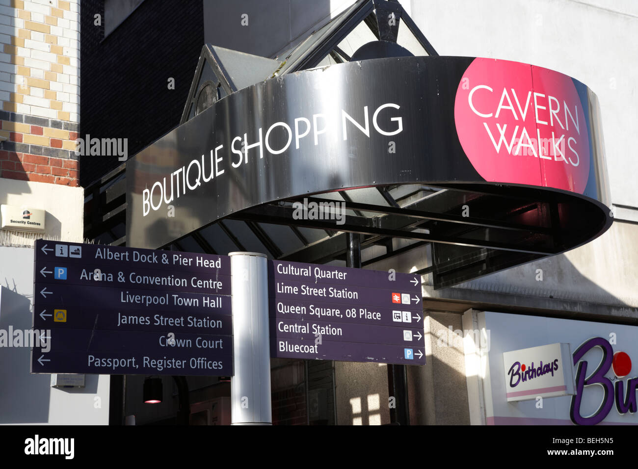cavern walks boutique shopping arcade centre with tourism direction signs liverpool merseyside england uk - Stock Image