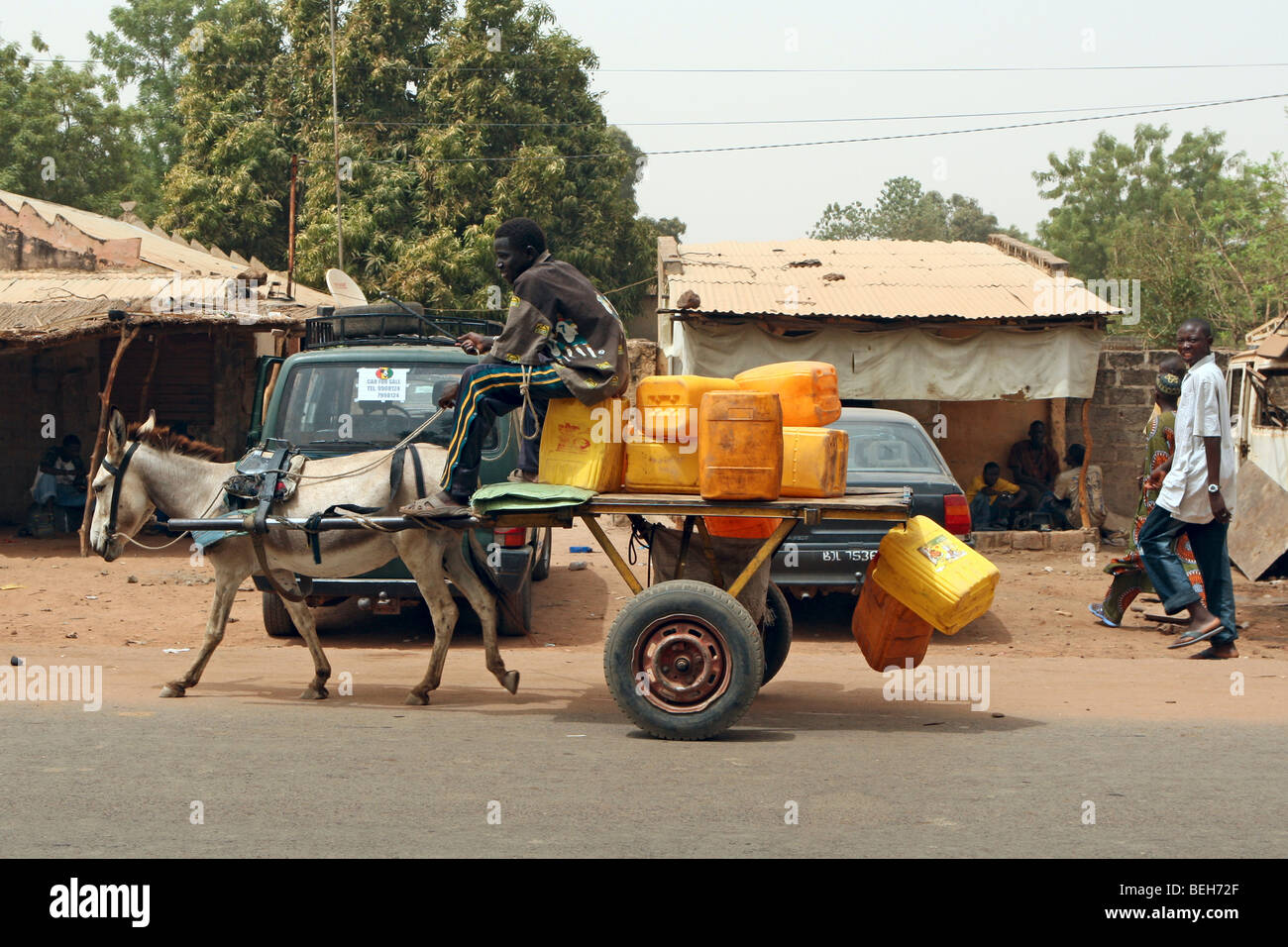 donkey & Cart - water supplies The Gambia Farafenni Market River Gambia - Stock Image